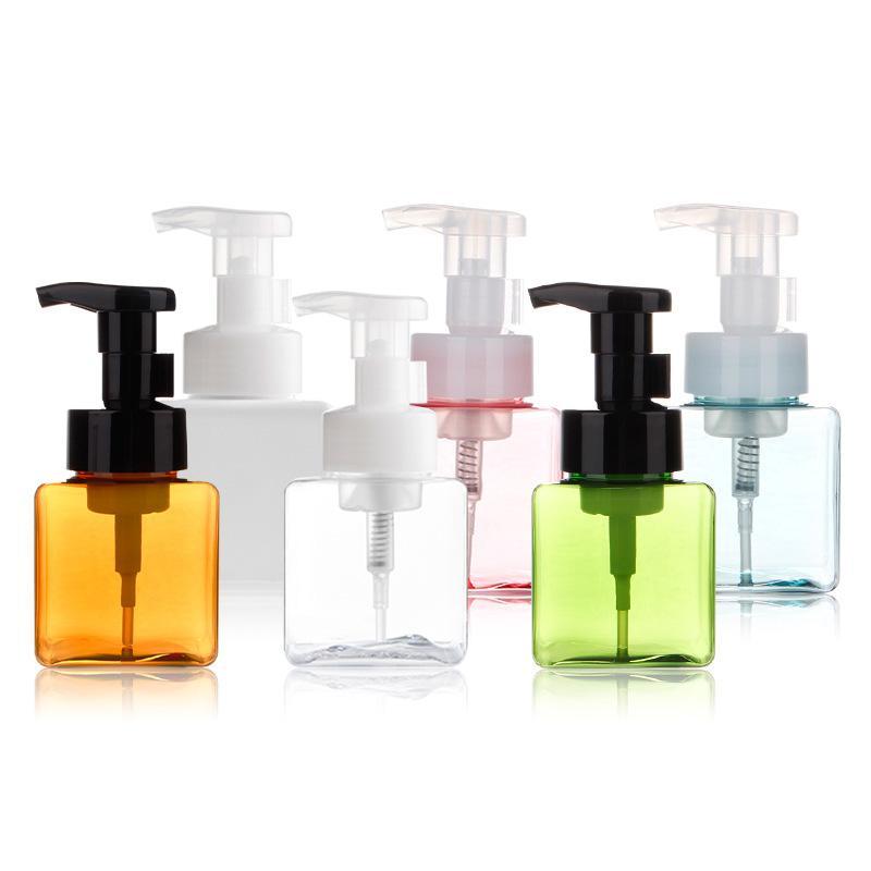 250ML البلاستيك الصابون زجاجة مربعة الشكل زجاجات مضخة رغوي الصابون السائل موزع الموس رغوة زجاجات زجاجة عطر GGA2087