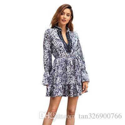 Explosiones transfronterizas de mujeres 2019 principios de primavera nuevo temperamento leopardo conmute gran tamaño vestido europeo y americano vestido