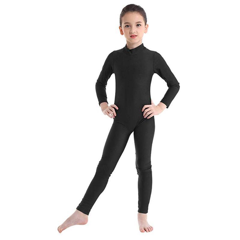 SPEERISE Black Girls manches longues Unitard Garçons Body Lycra Spandex Full Body Tight Jumpsuit pour les enfants costumes de danse Unitards