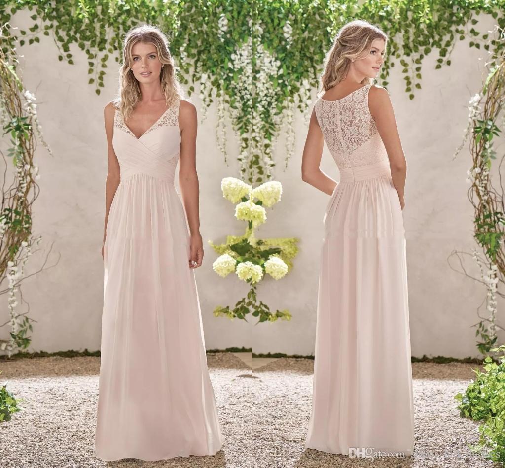 Сексуальные кружевные шифоновые платья подружек невесты V образным вырезом A Line длинные платья подружек невесты кантри свадебные платья для гостей на заказ SH4163