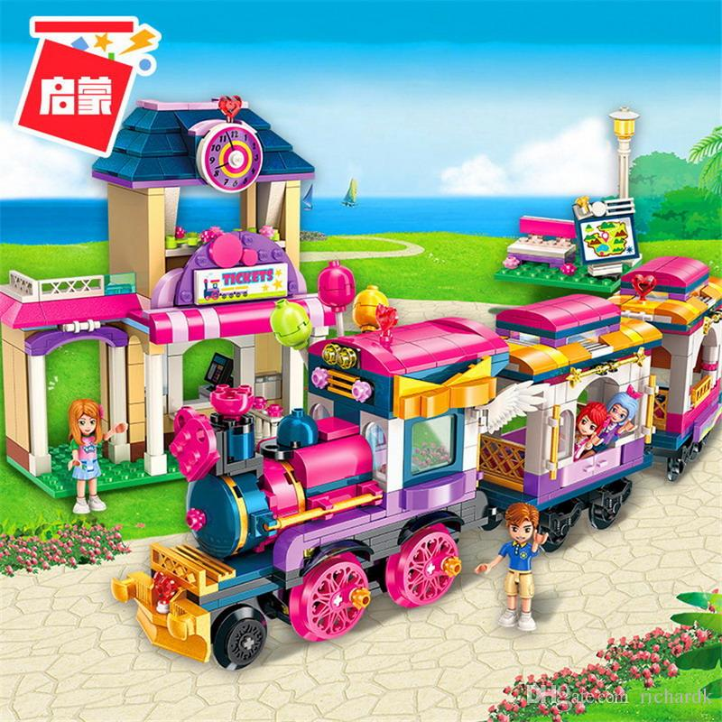 ERLEUCHTEN Stadt Mädchen Prinzessin Bewegen Maersk Zug Auto Bausteine Sets Bricks Modell Kinder Klassische Kompatibel Legoings Freunde