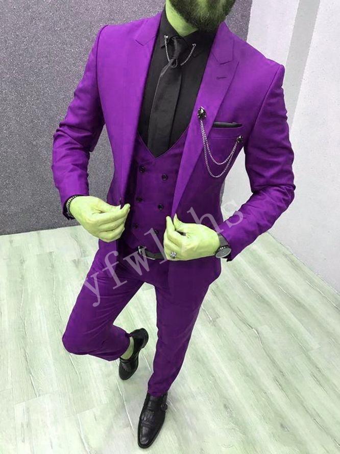 Красивый One Button Groomsmen Пик нагрудного Groom смокинги мужских Свадебное платье Люди куртка Blazer Пром Dinner костюмы (куртка + штаны + Tie + Vest) W18