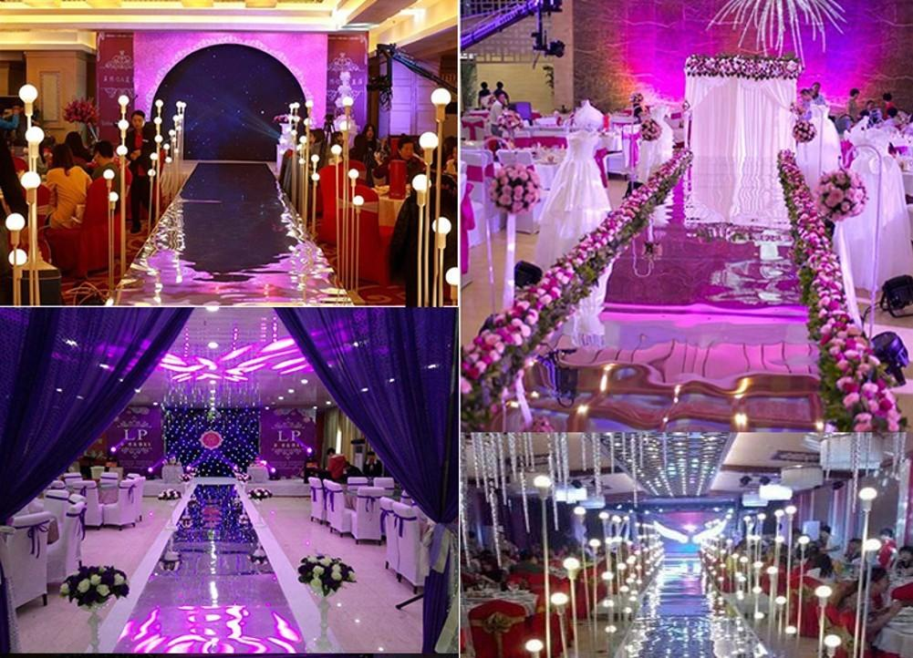 10M لكل الكثير 1.2M واسعة حفل زفاف يرتكز الديكور مرآة السجاد الممر عداء الذهب الفضة اللون الأرجواني