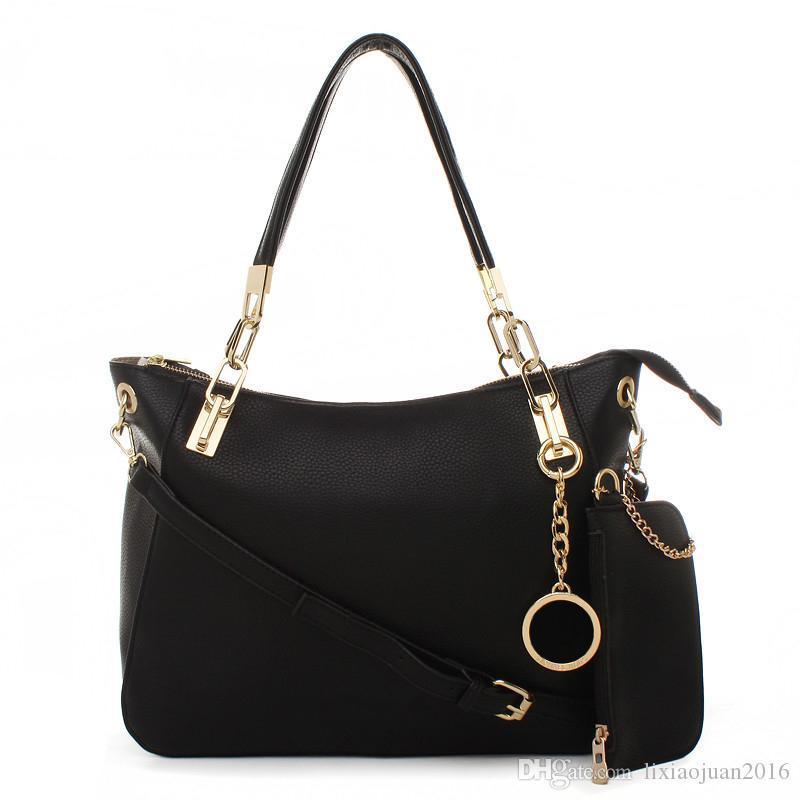2020 novos 2Pcs / Set alta qulity clássico das mulheres bolsas de lona composta de ombro de couro PU embreagem sacos bolsas bolsas das mulheres