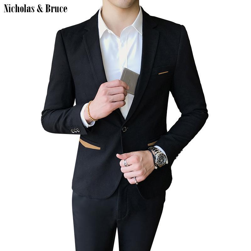 N&B Suit Jacket 2019 Men Formal Black Blazer Mens Frock Coat Wedding Jacket Men Slim Fit Business Suit Coat Dress Blazer SR23