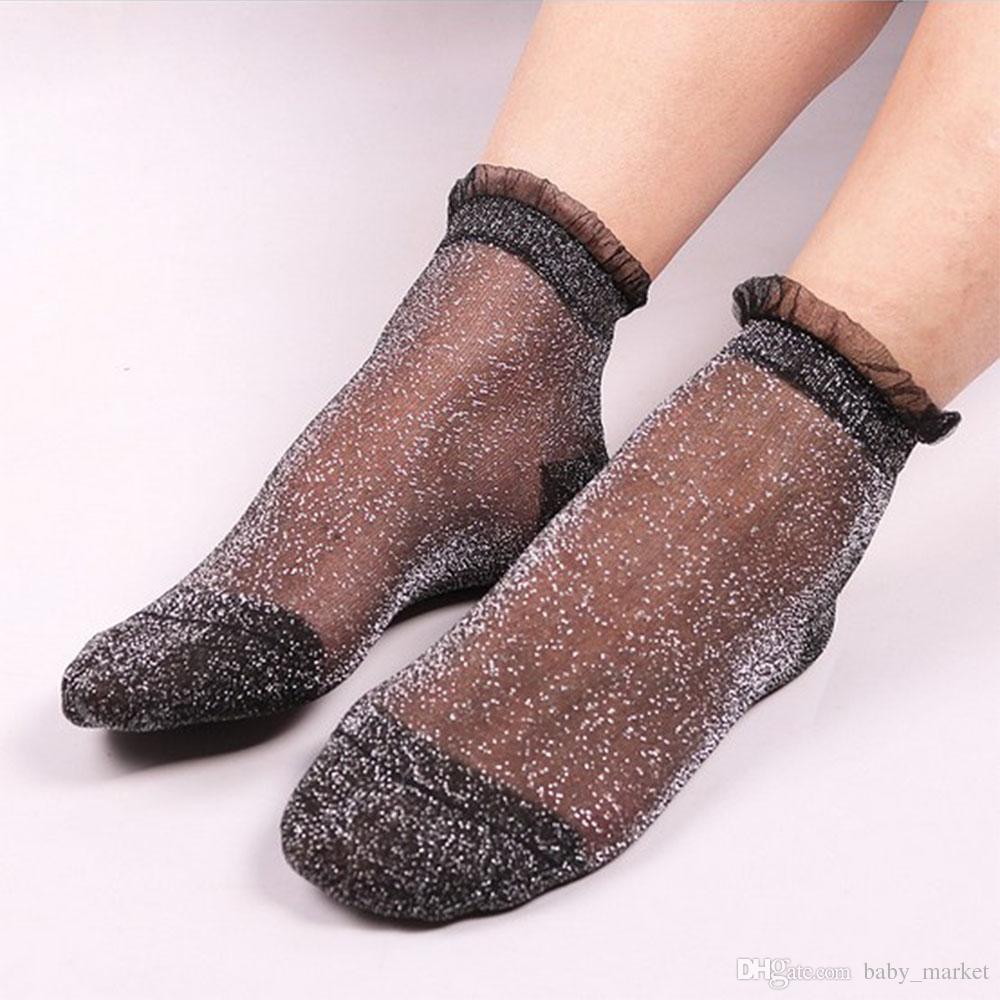 Drop verschiffen Meias Mode Kristall Seide Spitze Lustige Socken Frauen Mesh Glänzende Kurze Socken Transparente Elastische Lustige Socken 12 paare / 24 stücke