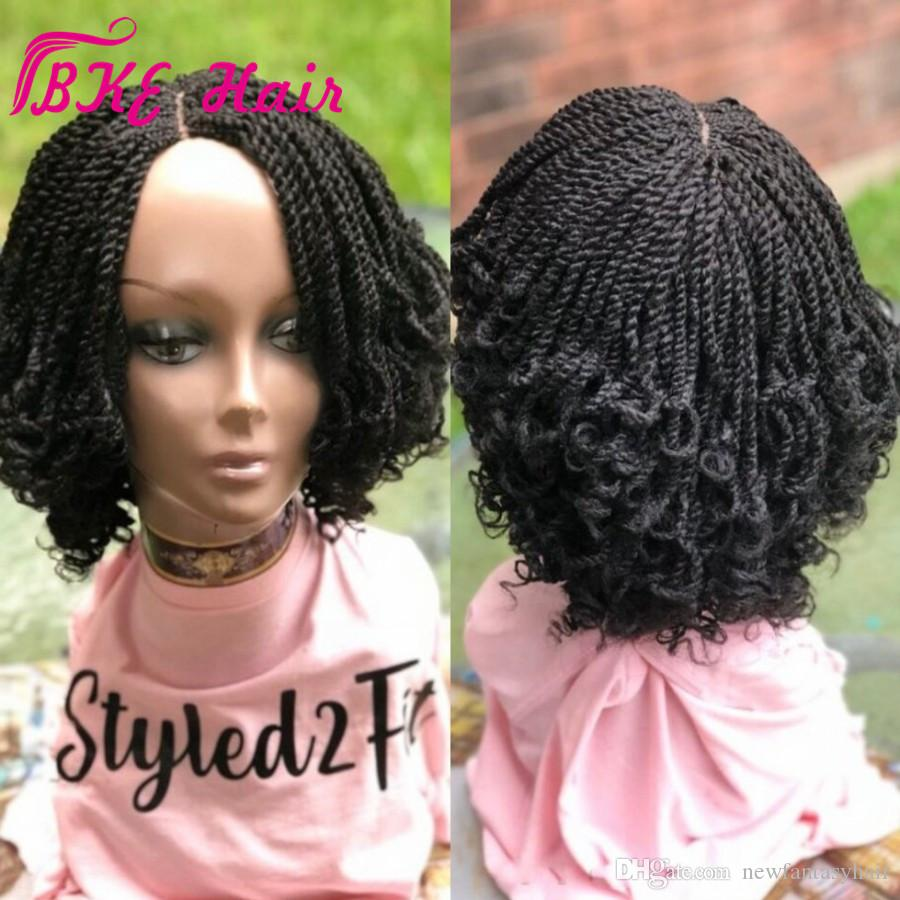 Popular Short box Braided Lace Front Wig Natural Black Kinky Twist Tip Braids Synthetic hair wig for Black Woman Free Shipping