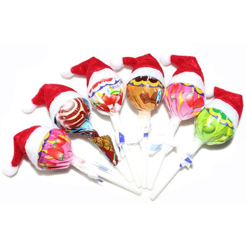 30PCS 크리스마스 롤리팝 커버 홈 롤리팝 모자 크리스마스 장식을 위해 랩 장식 미니 산타 클로스 크리스마스 장식 탑