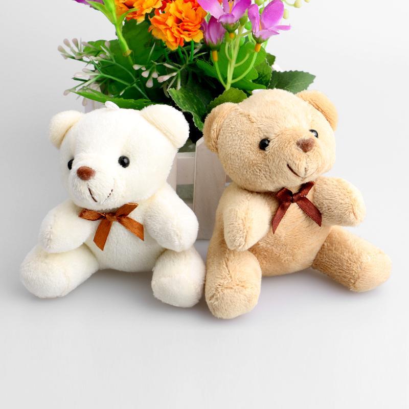 Teddy Bear Mini Projeto Baby Girl / Boy Plush Toys Key Pendant Flower Bouquets Weddin Promoções Presentes Urso Y200111
