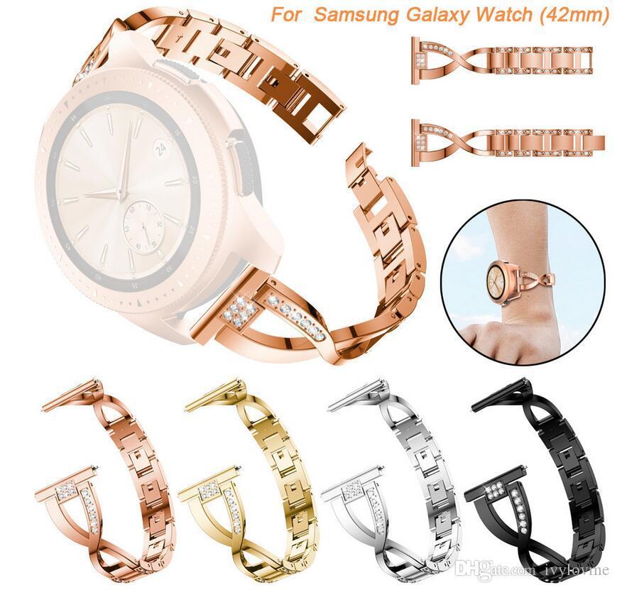 Samsung Galaxy Watch 42mm / 46MM 20MM / 22MM 너비의 스테인레스 스틸 스마트 밴드 용 교체 시계 밴드