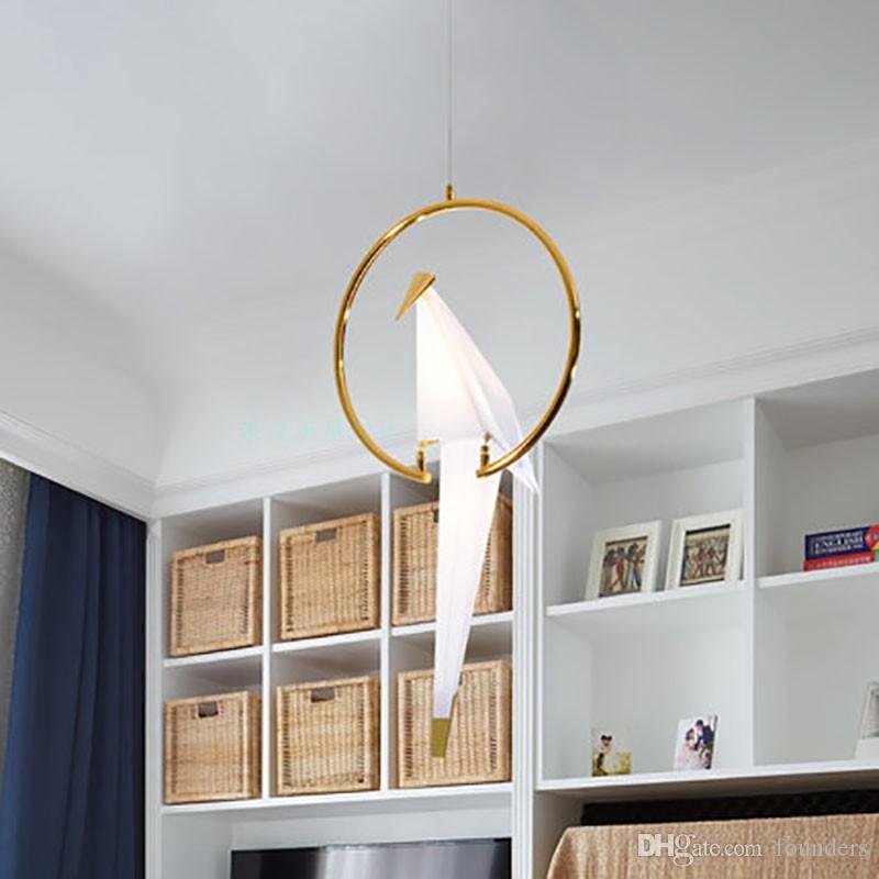 Mağaza Bar Foyer Ev Dizayn Sarkıt 110v 220v için Modern LED Kuş Kolye Işıklar Loft origami vinç kuş Led Luster Hanglamp