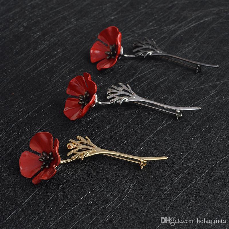 Flor de papoula vermelha Squid Broche Pin Collar Corsage Gold Silver Black Pins Camisa Crachá Presente Da Jóia Do Vintage para As Mulheres