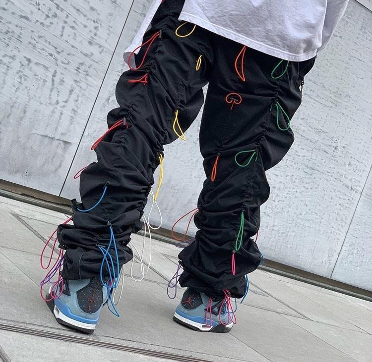 Arco-íris corda Calças Man Moda Heap Hip Hop Yuppie Designer Jogger Calças Arrefecer Chic Fashion Stovepipe macacãozinho Jardineira Boy