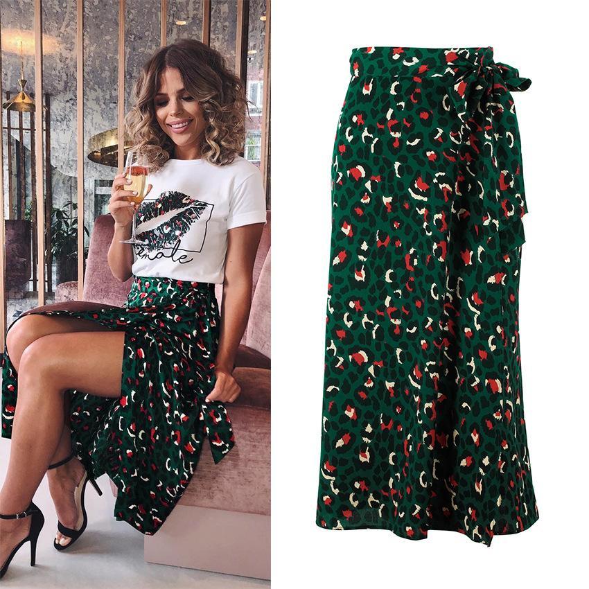 stile zaraing stampa midi sexy leopardo vita alta pannello esterno del partito casuale delle donne di Split A-line bts merci American Clothing
