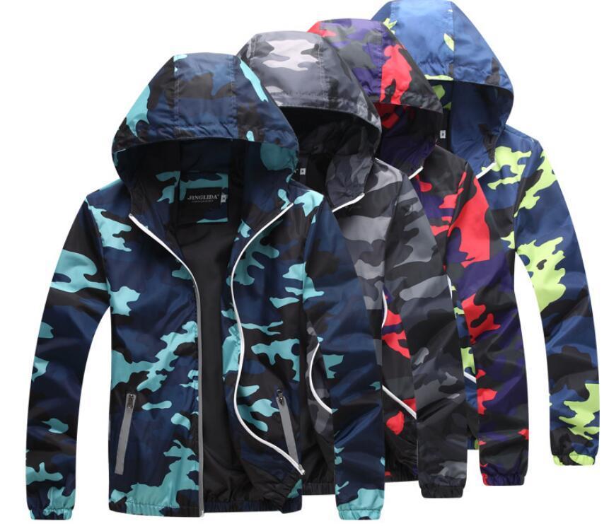 pelle abbigliamento outdoor abbigliamento crema solare maschili modelli paio uomini anti-ultravioletti pelle giacca a vento con cappuccio mimetica Outerwear Tops Plus Size
