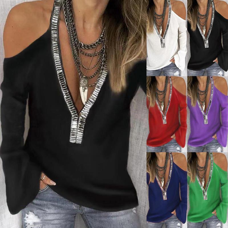 Beiläufige lange Hülse Chiffon T-Shirt Frau Dame Oberseite plus Größe Kleidung Paillettenbluse D402