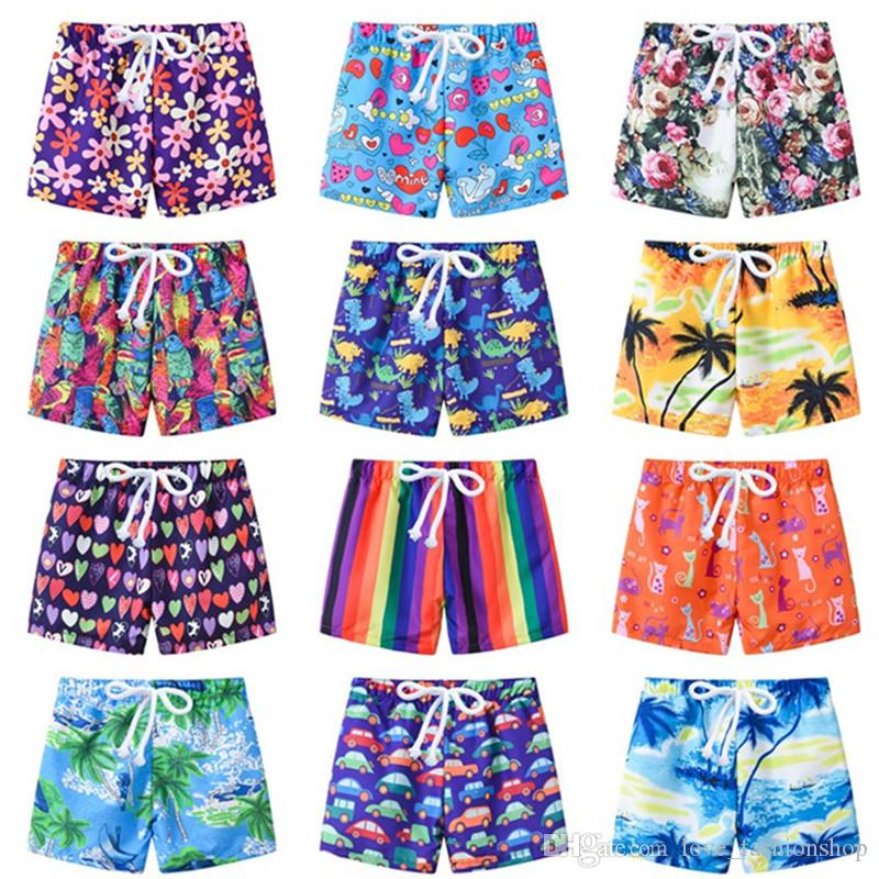 12 أنماط 2019 الصيف ملابس الأطفال الرسوم المطبوعة بنين السراويل شاطئ السباحة جذوع المايوه الأطفال قطعة بدلة السباحة قطعة واحدة الملابس