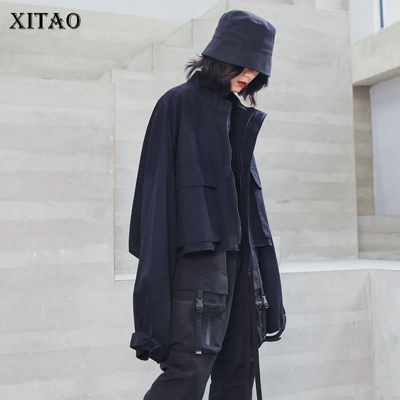Xitao Harajuku Стиль Короткие Инструментальное Пальто и куртки Женщины постоянный воротник черный пиджак Vintage Streetwear Top Женщины XJ2098