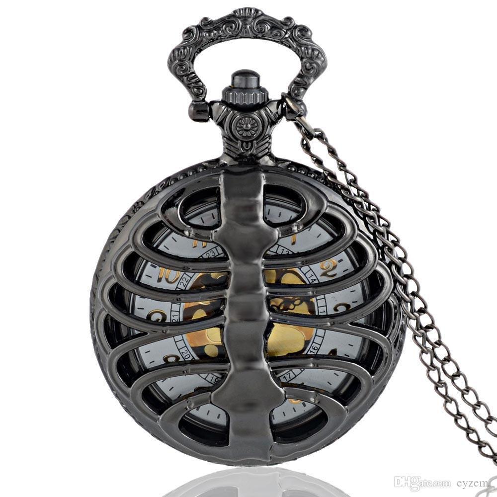 Yeni Moda Siyah Steampunk Omurga kaburga Hollow Kuvars Pocket Watch Zincirler Vintage Erkekler Kadınlar Kafatası kolye kolye Saat Hediye