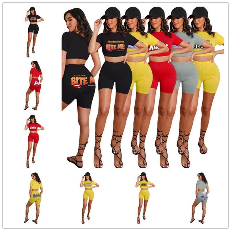Tallas grandes Traje de mujer Letras de diseño Labios Labios Sólido Color de manga corta Camiseta Top Top Shorts de dos piezas Conjunto Traje deportivo D52503CZ