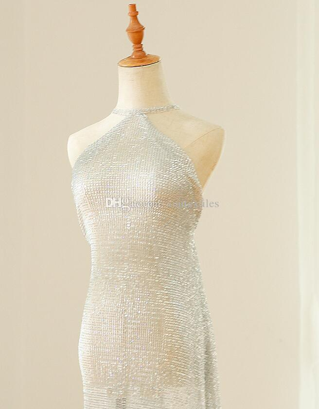 Encrypted pleated illusion laser scales silver sequins mesh beads wedding diamond dresses fabrics prom tweed lace mannequin sexy fabric A014