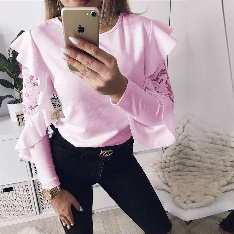 New Hot Women Ladies Casual Tops Fashion 3 Style Long Sleeve Ruffles Lace Solid Slim Shirt Tops Outfit Spring Summer