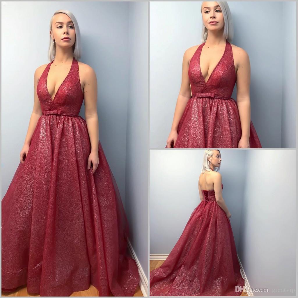 Sparkly Burgund Ballkleider Halfter A Line Glitter Lace Up Bodenlangen Abendkleider Plus Size Formales Abendkleid Abendkleider