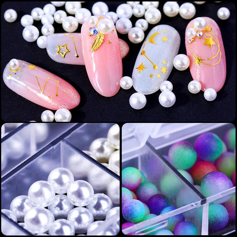 Nail Art Decorations Mixed Size Effect 3d Acrylic Pearl Rhinestones Multi Color Gradient Jewelry Polish Nail Designs 12 Grid