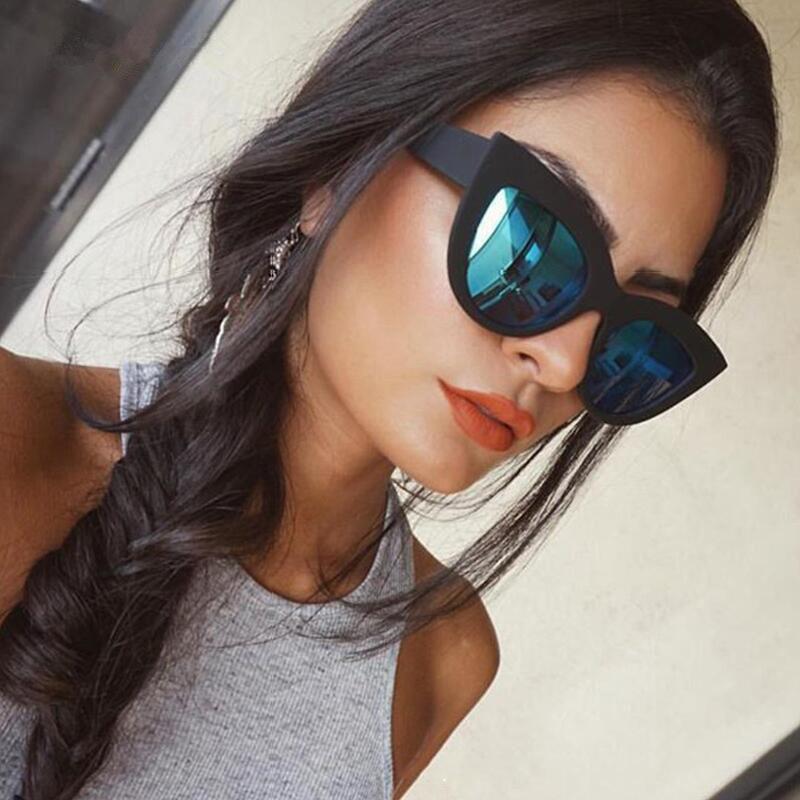 Frauen Katzenaugen-Sonnenbrille Marke Retro Brille HD Objektiv Brillen Damenmode Cateye Vintage-Sonnenbrillen Weibliche UV400