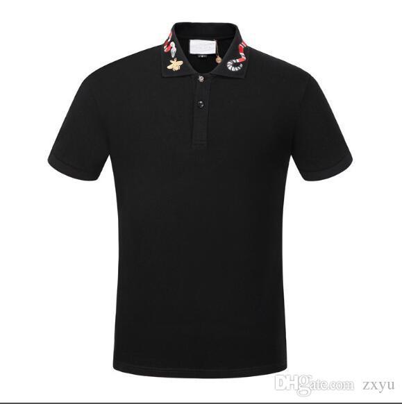 2020 Yeni Summber Marka tasarımcıları polo gömlek Lüks tişörtleri Moda yılan arı çiçek Baskılı Polos Yüksek Kaliteli Casual Pamuk Polo Tee