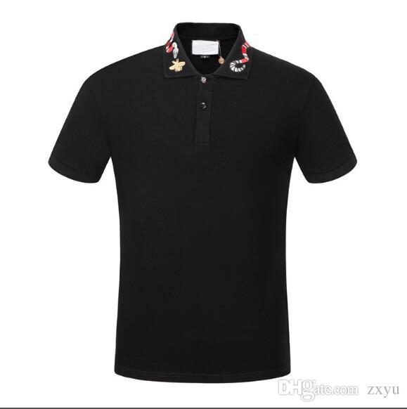 2020 Nova Summber Marca designers de camisa pólo de luxo camisetas Moda cobra abelha floral impresso Polos de alta qualidade Polo Cotton Casual Tee