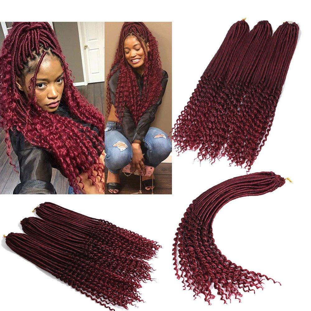 20 inches Bohemian Faux Locs Crochet Hair Extensions Curly Crochet Braiding Hair Goddess Kanekalon Synthetic Hair for Girl Women