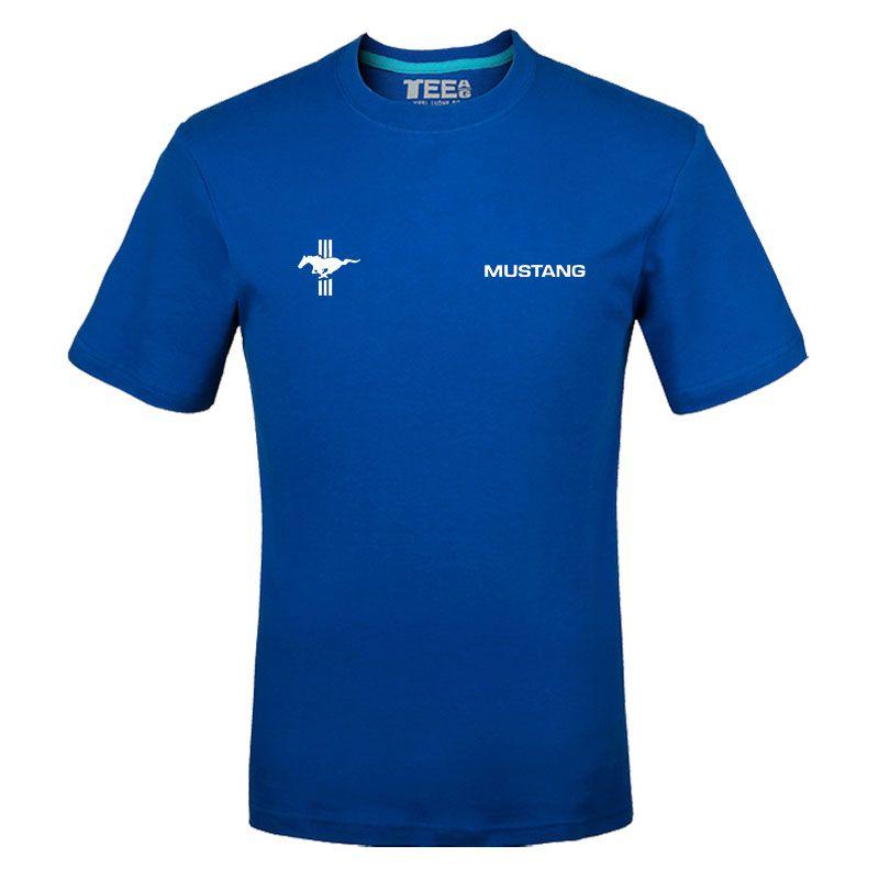 Verão Cotton T-shirts Mustang Logo camisetas de manga curta Slim Fit Moda Tops Tees Vestuário Masculino