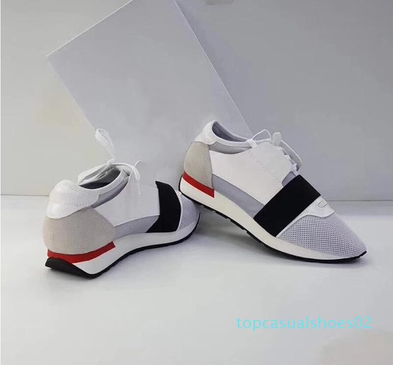 2018 Мода и качество дизайнер кроссовки человек женщина повседневная натуральная кожа сетка острым носом гонки Бегун обувь на открытом воздухе тренеры с t02