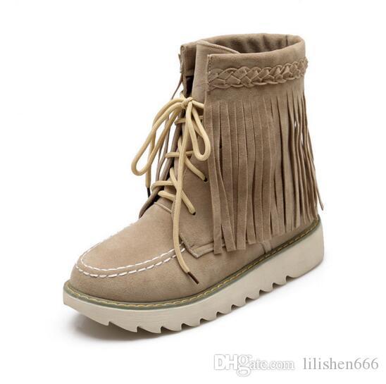 2019 kış yeni moda kar botları sıcak ve rahat püsküllü botlar yüksek kaliteli lüks kadın ayakkabıları