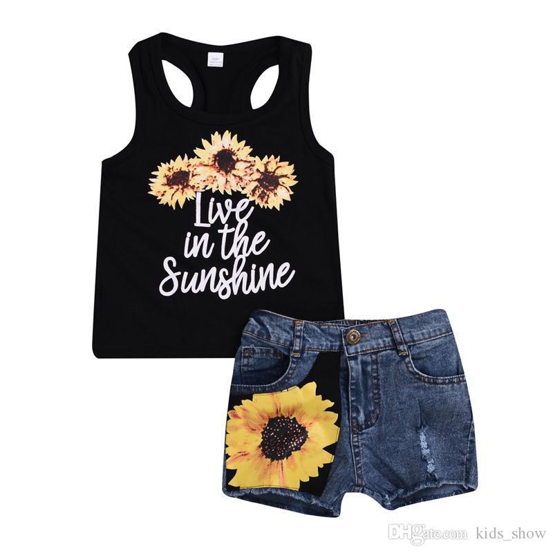 Toddler Kids Baby Girl Sunflower Crop Tops+Shorts Dress 2PCS Outfits Set Sunsuit