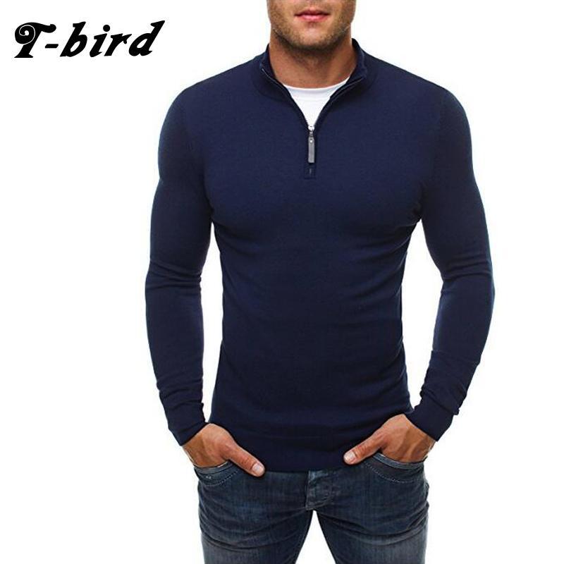 T-Bird Marca 2017 New Moda Outono Casual Sweater Zipper Decoração Slim Fit Knitting Mens Camisolas capuz 3 cores 0 SH190928