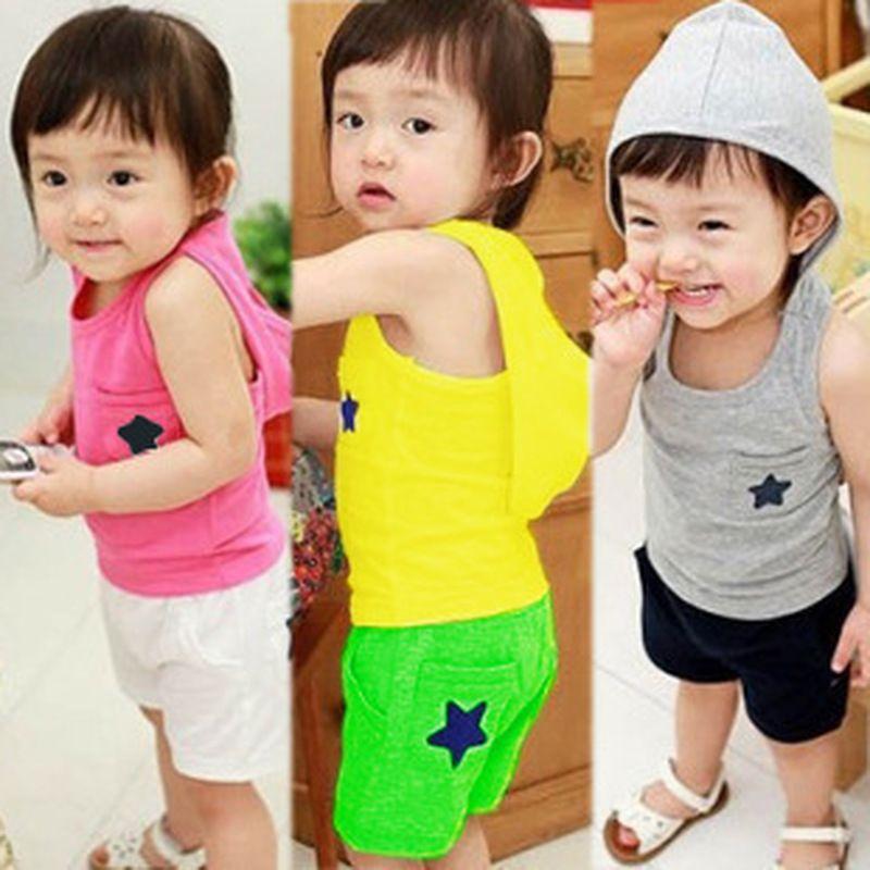 1 2 3 4 5 anni Bambini Abbigliamento per bambini Set Estate Casual Cotone Abbigliamento per bambini per Ragazzi Ragazze Giacca con cappuccio Pantaloncini Abiti per bambini