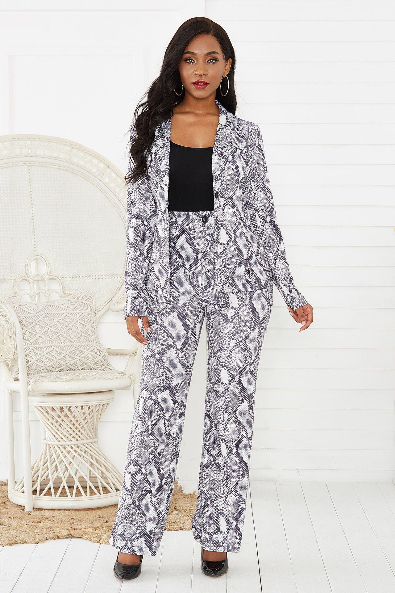 Indipendente professionale delle donne sexy elegante insieme a due pezzi del serpente-Print Suit Pants Set