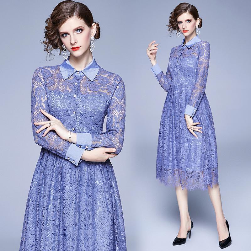 Yeni Uzun Kollu Bayan Midi Mavi Dantel Elbise vestidos Casual Mujer 2020 Zarif Kadın Parti Elbise