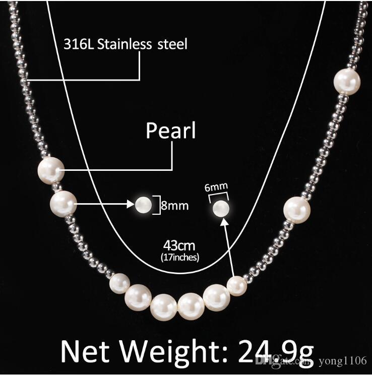 Nuevo diseñador europeo y americano Street perla bola de acero inoxidable collar mixto personalidad de la moda hip-hop simple Chaozhou clavícula cha
