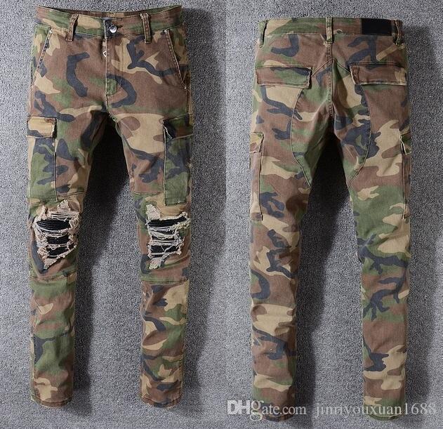 Известный камуфляж джинсы новый летний модельер мужские рваные известный бренд байкер повседневные брюки хип-хоп джинсы для джинсов Джинсовые длинные брюки