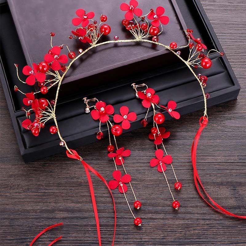 Braut Hochzeit Haarschmuck Sets Rote Blumen Tiaras Stirnband Dekoration Ornamente für Frauen Mädchen Hairbands Rote Ohrringe LB