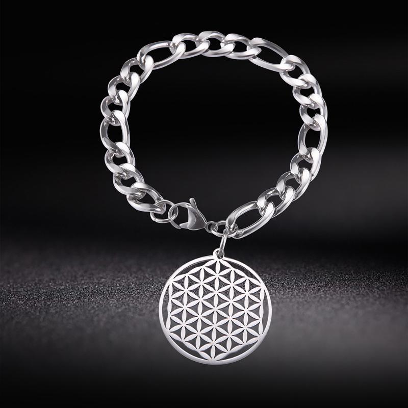 Lemegeton Flor da vida Mandala Runes Charme homens jóias pulseira de aço inoxidável Punk Geometria Sagrada Pulseiras