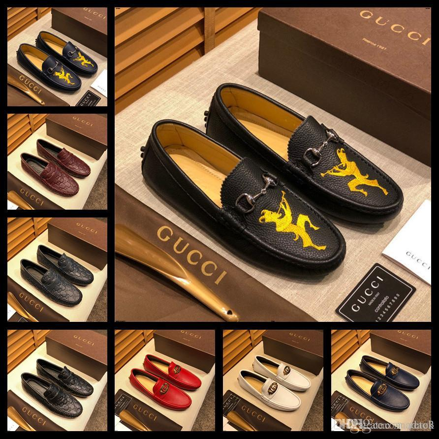 20SS Mocassins MEN loafers CUIR VÉRITABLE Auto chaussures respirant printemps Slip Flats marques de luxe Homme doux CASUAL CHAUSSURES EN CUIR YEYE3