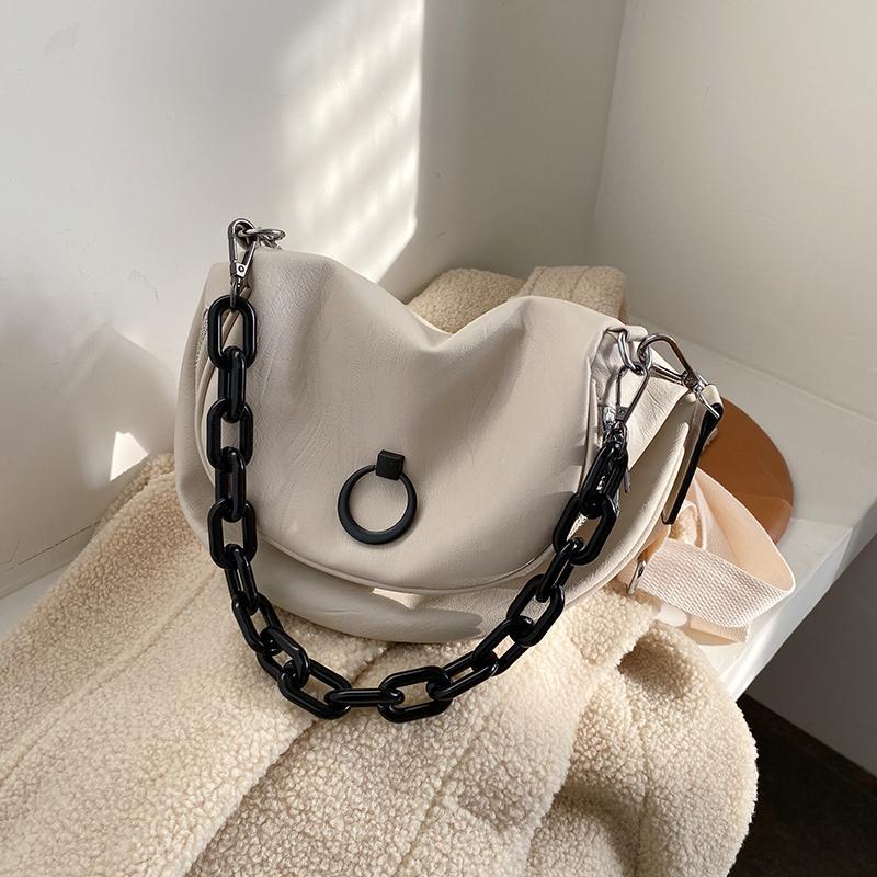 Épaule de messagerie rétro en cuir solide 2020 Shopping Fashion Mode Sac Large Cuir Sangle Couleur Sac à épaule douce Neuf Daewp