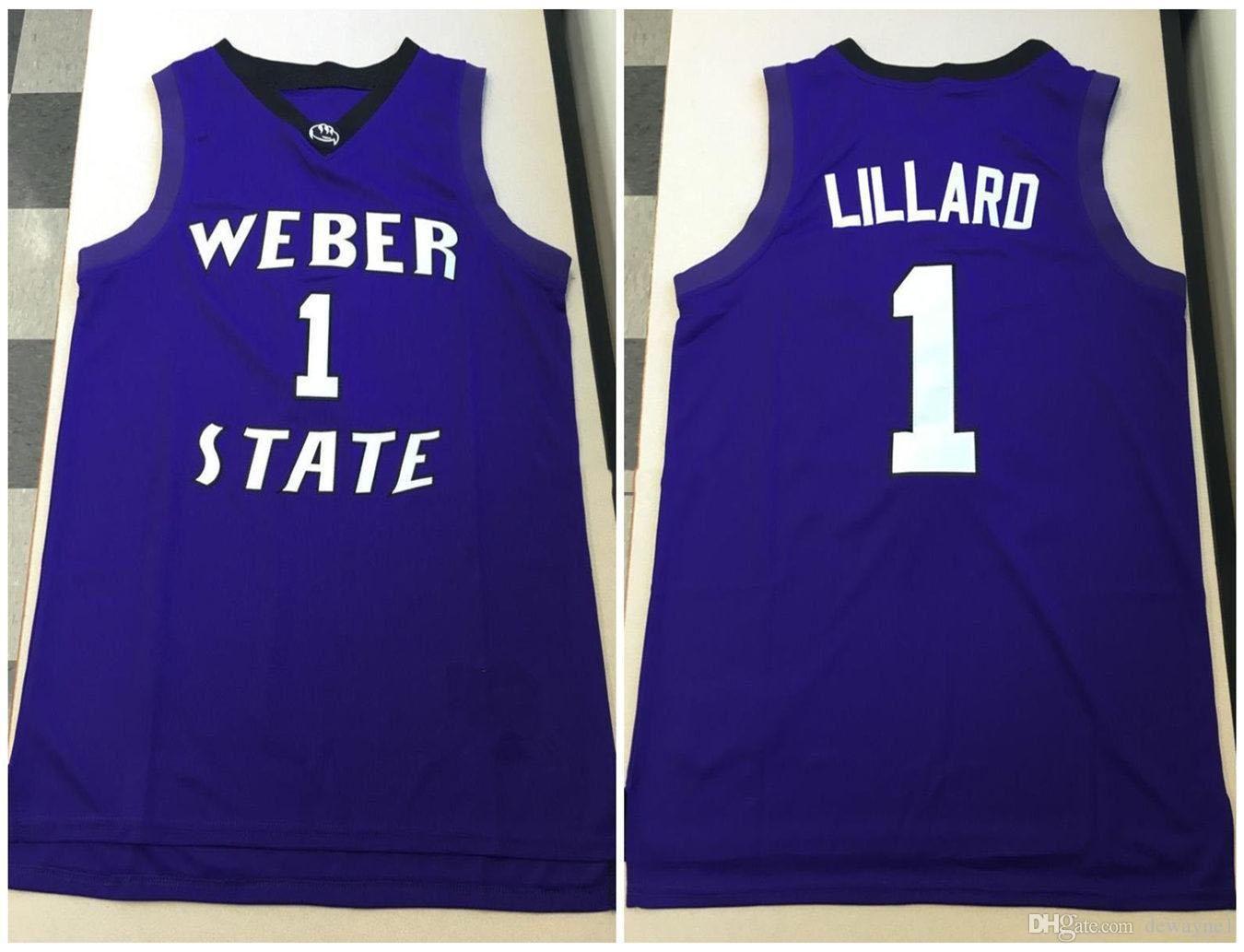 Weber State Wildcats College Damian Lillard # 1 Basketball Jersey Mens Nähte Benutzerdefinierte Nummernname Trikots