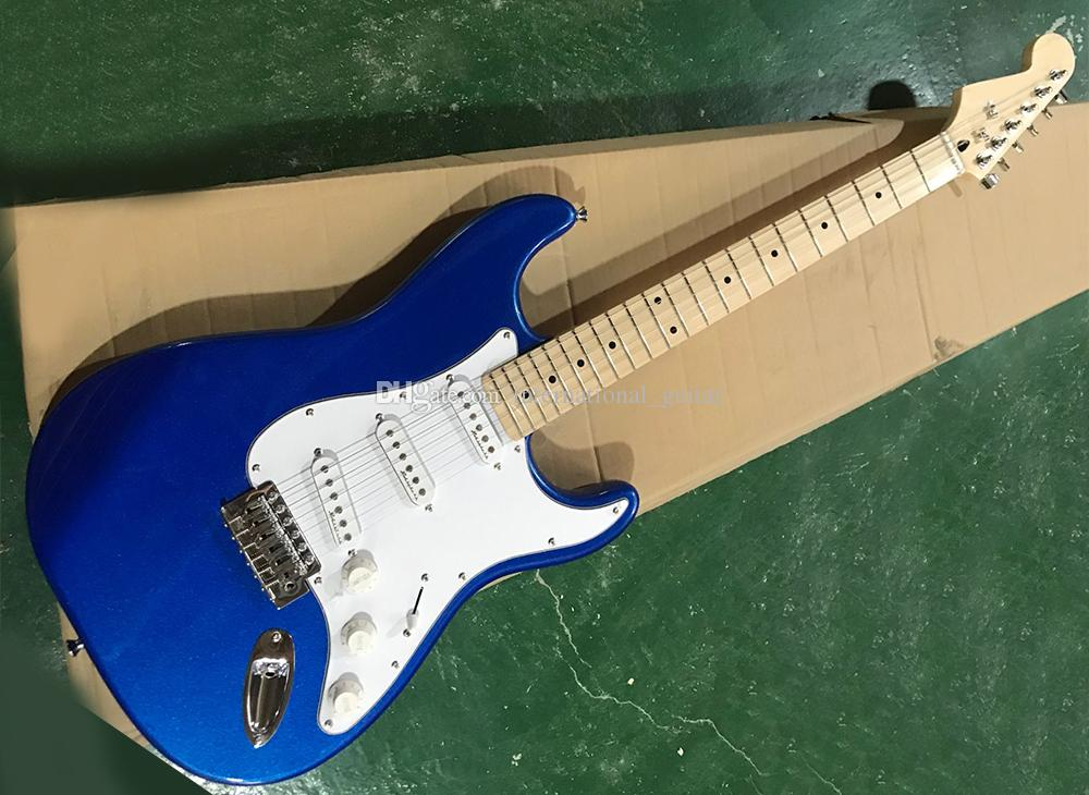 Fabrik Großhandel Blau E-Gitarre mit Umgekehrt Kopfplatte, Weiß Pickguard, Ahorn Griffbrett, Gold Hardware, kann angepasst Werden