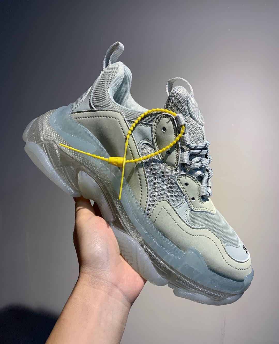 Personality Paris Crystal Bottom Triple-S Casual Shoes Dad Shoe Platform Triple S Sneakers for Men Women Lace Up Dust Bag Tennis