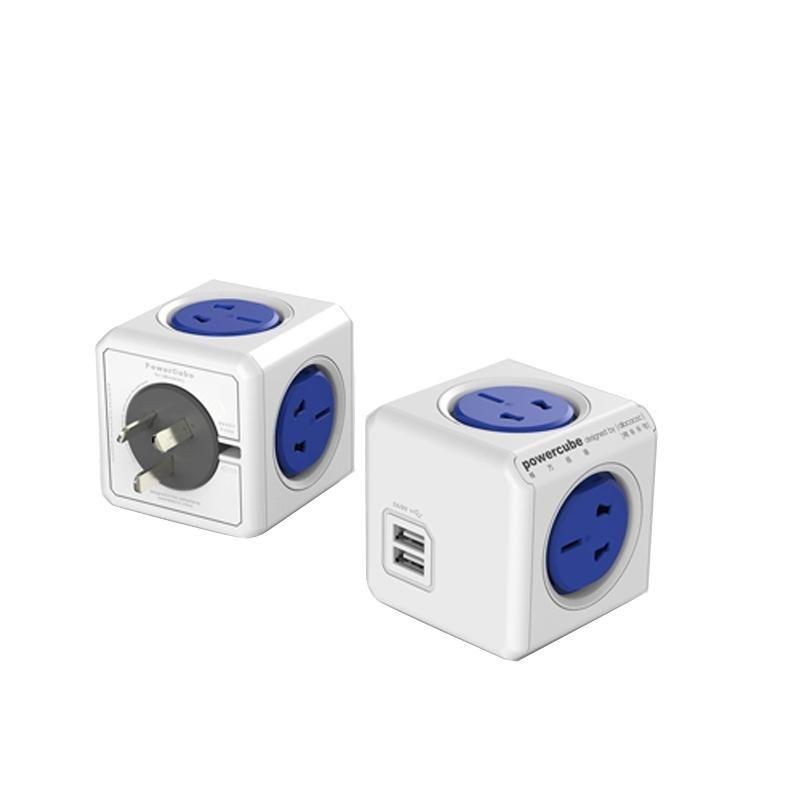 PowerCube 10A Universal-Wand-Adapter-Netzdose mit 4 US / AU Sockets und 2 USB-Anschlüsse für Home Office, AU-Stecker, zufällige Farbe Lieferung